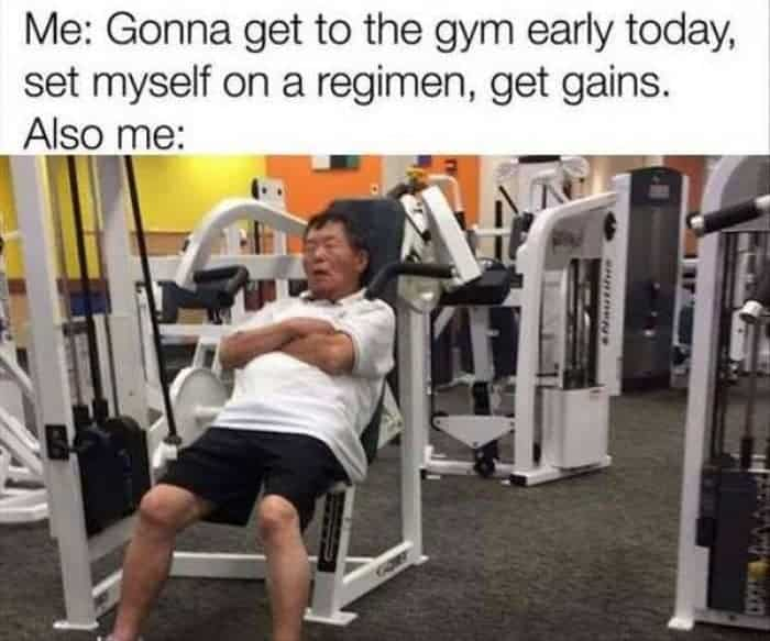 tired in gym meme